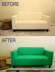 Find out how to easily paint a sofa, couch, chair or loveseat to give it new life! Painted sofas are fantastic - quick and easy! Painting Fabric Furniture, Paint Upholstery, Furniture Upholstery, Paint Furniture, Furniture Makeover, Home Furniture, Paint Fabric, Bedroom Furniture, Sofa Makeover
