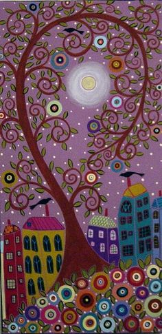 Swirl Tree, Moon, Houses and Birds | Karla Gerard