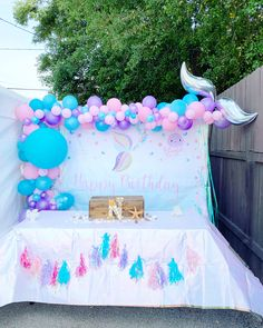 Mermaid / Mermaid Party / Mermaid Birthday / Balloon Garland / Party Backdrop / Under The Sea / Mermaids / Balloon Art / Birthday / Birthday Party / Girls Birthday Party Mermaid Theme Birthday, Little Mermaid Birthday, Little Mermaid Parties, Girl Birthday, Birthday Month, Birthday Backdrop, Birthday Balloons, 1st Birthday Parties, Mermaid Party Decorations
