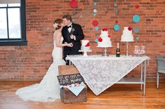 DIY Confetti Garland; Cakes and Champagne Ice Pops by Couture Cakes of Greenville; Dress from The Poinsett Bride; Tux from Bow Ties & Veils; Moonpie favors by Wedding 101 Greenville; Vintage Rentals from A Darling Day; Venue: The Loft at Falls Park; Photo by Raycroft Art
