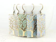 Tree Earrings Periwinkle Purple Winter Jewelry Tanzanite Lavender Earrings Tree Jewelry Antique Brass Distressed Cottage Chic Lilac. $34.95, via Etsy.
