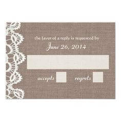 ShoppingAntique Crochet Lace and Burlap RSVP Custom Invitationsonline after you search a lot for where to buy