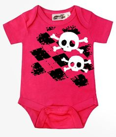 Amazon.com: My Baby Rocks Baby-Girls Argyle Skull One Piece: Clothing