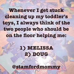 If you need me I'll just be unburying my couch which is somewhere here in my Melissa & Doug showroom. #momlife @melissaanddougtoys