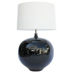 Large 70's Black Ceramic Lamp  | From a unique collection of antique and modern table lamps at https://www.1stdibs.com/furniture/lighting/table-lamps/