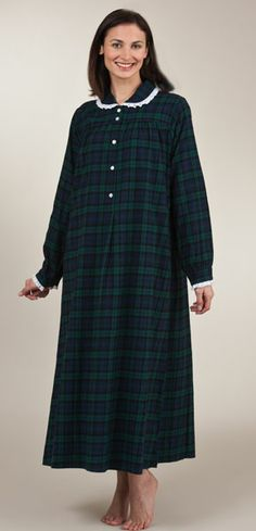 Last Ones Size M - Lanz Gown Peter Pan Collar Cotton Flannel in Black Watch Plaid