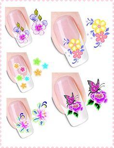 DaLin 5 Packs Flora Flower Mixed Design Nail Art Water Slide Tattoo Decals Stickers