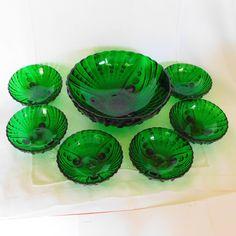 Modern Retro, Midcentury Modern, Retro Wedding Gifts, Glass Company, Anchor Hocking, Pressed Glass, Green Wedding, Bowl Set, Serving Bowls