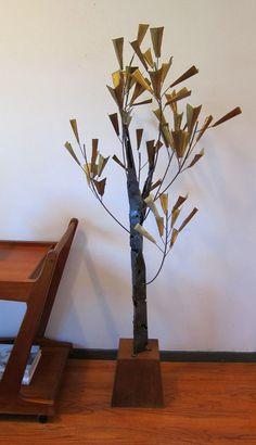 Mid Century Brutalist Metal Tree Sculpture by DeGroot by DavisMerc, $1175.00