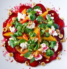 ENSALADA DE REMOLACHA, NARANJA, QUESO DE CABRA Y AVELLANAS (beetroot, orange, hazeluts and goat cheese salad) #recetas