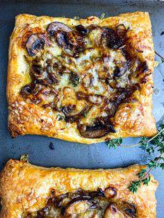 Puff Pastry Recipes Savory, Tart Recipes, Puff Pastry Tarts, Tomato Tart Puff Pastry, Puff Pastry Appetizers, Cooking Recipes, Savory Tart, Mushroom Appetizers, Yummy Appetizers