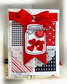 Carte cœur nœud rouge