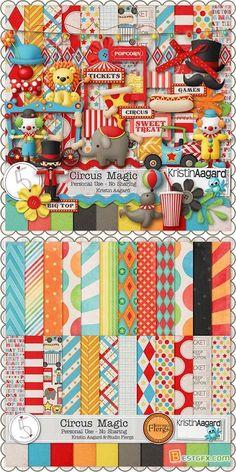 Scrap Set - Circus Magic PNG and JPG Files