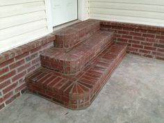 Brick steps for back porch. Brick steps.