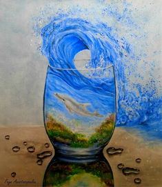Ocean Fleece Blanket mit dem Gemälde A Glass Of Ocean von Faye Anastasopoulou Femme Taille Moyenne Pantalons Longs, Mode Slim Fit Skinny Jeans avec Po. Ocean Canvas, Ocean Art, Legging Bleu, Thing 1, Canvas Prints, Art Prints, Canvas Paintings, Painting Prints, How To Make Paint