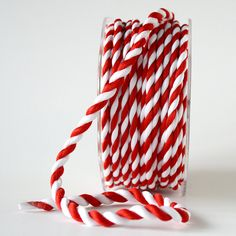 Red & White Twisted Rope Ribbon 1/4 Inch 5 yards by minorthread