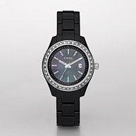 FOSSIL® Watch Styles Black and White Watches:Women Stella Resin Watch - Black with Stones ES2157