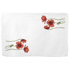 Red Poppy Floral Design Kitchen Towels