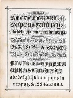 Lettering Alphabet Calligraphy Lessons 1886 #Blackletter