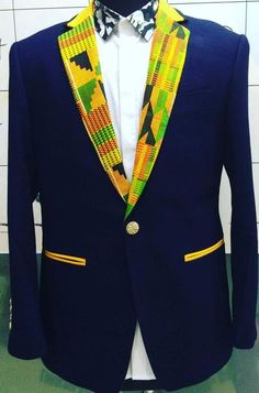 Stand out from the rest and show off your dapper self in this slim fit Kente Cloth Blazer. Check out our Kente ties and bow ties to finish up the look. You can crash any wedding when you rock this bla African Shirts For Men, African Clothing For Men, African Print Fashion, African Fashion Dresses, African Prints, Ankara Fashion, Africa Fashion, African Fabric, African Attire