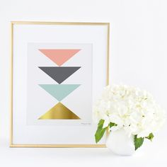 Geometric Triangle Art | Office Decor | Pink and Gold Art | Nursery Art | Pink Gray Seafoam Gold Art | Home Decor Art |. ♥♥♥ Welcome to Penny Jane Designs! ♥♥♥ ░░░░░░ PLEASE READ DETAILS CAREFULLY ░░░░░░ Your Penny Jane Design will be printed with professional Canon ink on high quality archival photo paper with a luster finish. All of our designs are printed on photo paper to insure the colors are as bright printed as they are when we create them. Card stock paper will suck up the ink and...