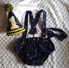 Boys Cake Smash Outfit Nautical Anchors by SlickandBoogers
