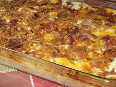 Loaded potato casserole - a perfect use for all those leftovers in the days after Thanksgiving.