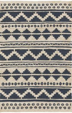 100% jute Columbia rug with navy blue patterned accents - from Surya (CBA-128).