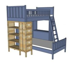Dresser Bookshelf Support for Cabin Bunk System-picture of modified to desk on bottom in FB directory Bunk Beds Small Room, Bunk Beds With Stairs, Cool Bunk Beds, Kids Bunk Beds, Loft Beds, Dresser Bookshelf, Bookshelves, Bookshelf Plans, Bookshelf Ideas