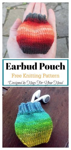6d96d19332d Earbud Pouch Free Knitting Pattern  freeknittingpattern   easyknittingpatterns  pouch Knitting Socks