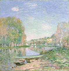 アルフレッド・シスレー 《ロワン河畔、朝》 1891年