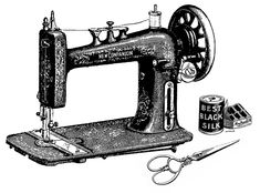 clip art sewing machines | Vintage Sewing Machine, Scissors and Thread Clip Art Image...