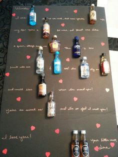 "Since my boyfriend's not into sweets, I made him a ""love letter"" using mini alcohol bottles!"