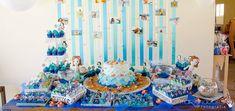 Festa // Tema: Sereia // Mesa do Bolo // Cor: Azul // Lindo!