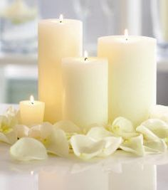 I am all about flameless candles and this is a simple and elegant arrangement that can be placed on a platter or tray in any room or around yb.our bathtub.  Romantic, lovely and inexpensive.