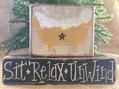 Primitive Country Bath Bathtub Sit Relax Unwind Star Wood Shelf Sitter Block Set #NaivePrimitive #DoughandSplinters