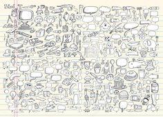 Ноутбук каракули речи пузырь дизайн элементы Mega векторной иллюстрации Set — стоковая иллюстрация #6434039
