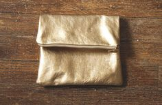 Gold, Copper Metallic Leather Pouch
