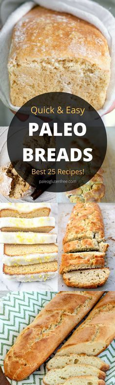 The best, most delicious PALEO Bread recipes! Easy crusty gluten free bread. Low carb almond flour paleo bread recipes. Homemade bread recipes. Quick gluten free bread that tastes amazing!