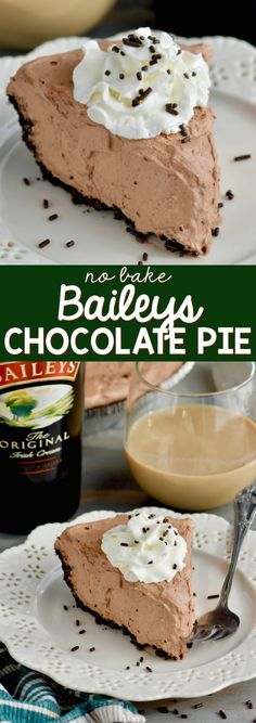This No Bake Baileys Chocolate Pie is the perfect easy dessert . with booze! This No Bake Baileys Chocolate Pie is the perfect easy dessert . with booze! Easy Chocolate Desserts, Chocolate Pie Recipes, Easy No Bake Desserts, Delicious Desserts, Chocolate Sprinkles, Cake Chocolate, Chocolate Baileys, Melt Chocolate, Baking Chocolate