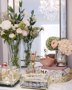 Vanity styling with fresh bouquet Chanel book perfume tray | Classy Glam Living