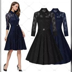 """Lovely lace contrast vintage look pleated dress. Available in navy blue, royal blueand black. The dress is made of 64% cotton, 32% nylon and 4% spandex. It has 3/4 sleeve, is knee length, has a zipper in back and a floral lace design. Available in US sizes 4 - 18.    This dress is also available on our website at www.UyleesBoutique.com in our """"Dresses"""" section, and our """"Vintage Dresses"""" section    This item ships with seven (7) days. 📦    Measurements:    Small = US 4/6, Bust Range 32.3""""…"""