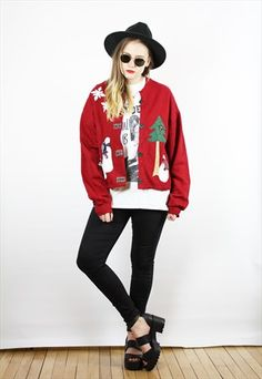 Vintage+90s+Retro+Red+Christmas+Xmas+Cardigan+Jumper