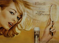 Elnett Hairspray from L'oreal France. First available in the US in 2008 Vintage Makeup Ads, Vintage Beauty, Vintage Ads, Beauty Ad, Beauty Shop, Hair Beauty, Beauty Tips, Beauty Products, Best Hairspray