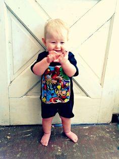 comic Super Heros geek shirt baby toddler romper Marvel