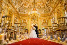 Newlyweds in the golden ballroom at the Palazzo Parisio, Malta. Wedding Photography. www.elliotnicholphoto.com