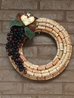 "Beautiful Handmade Wine Cork Wreath Approx 15"" ""Wine Lover"" by TADsLovingDesigns on Etsy https://www.etsy.com/listing/244918612/beautiful-handmade-wine-cork-wreath"