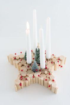 DIY: Adventskranz mal anders, Stern aus Naturholz