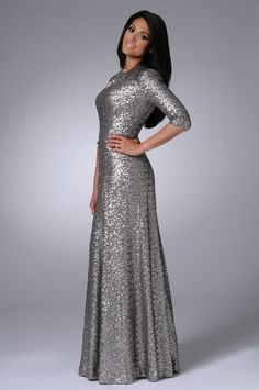 Pre-Order Lev Collection 2013 Designs Exclusively at Mode-sty: Sequin Gown (Metallic) Event Dresses, Modest Dresses, Modest Outfits, Satin Dresses, Classy Outfits, Modest Fashion, Hijab Fashion, Bridesmaid Dresses, Prom Dresses
