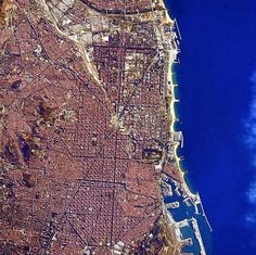 Barcelona, as seen from the International Space Station. Barcelona Bars, Barcelona Catalonia, Barcelona Travel, Scenery Photography, Aerial Photography, Gaudi, Barcelona Architecture, Spain And Portugal, Urban Exploration